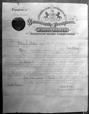 Samuel Johnson death warrant, certificate, William F. Mathues, Sherriff
